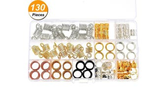 130 Pieces Metal Hair Cuffs Hair Braiding Beads Aluminium Dreadlocks Hair Decoration Accessories with Storage Box