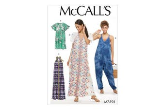 Butterick M7598-A50 Misses' Very Loose-Fitting Dresses and Jumpsuit, 6-8-10-12-14