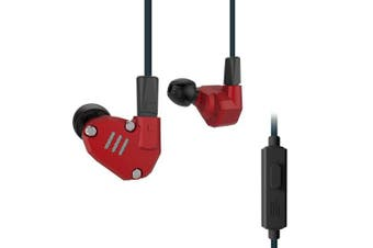 (Red with Mic) - Quad Driver Headphones,ERJIGO KZ ZS6 High Fidelity Extra Bass Earbuds without Microphone,with Detachable Cable (Red with Mic)