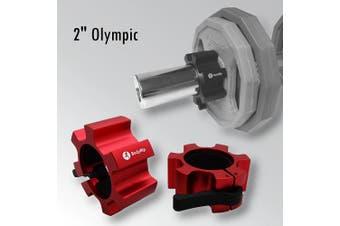 (red) - BodyRip Olympic 5.1cm Star Collars Barbell Dumbell Clips Alloy Aluminium Locks Pair