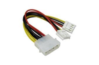 Bluecharge Direct 13cm 4 Pin Molex To 5.1cm x 8.9cm Floppy Drive FDD Power Splitter Adaptor Cable