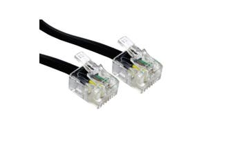 (20m, Black) - Bluecharge Direct 20m Metre RJ11 To RJ11 Cable Lead 4 Pin ADSL Router Modem Phone 6p4c BLACK Long