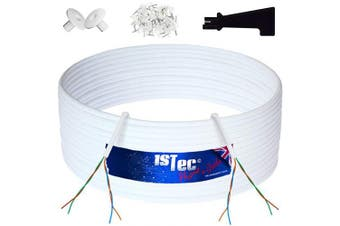 (10 Metre, White) - 1STec 10m of Genuine BT CW1308 4 Core 2 Twisted Pair Telephone or FTTC Broadband Extension Wire + 2 Grommets + IDC Insertion Tool + 3.5mm Clips + Printed Colour Code Instructions (10 Metre, White)