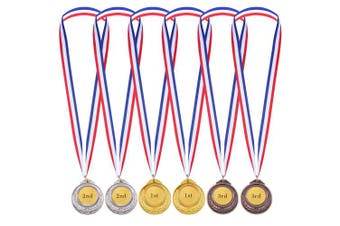 6 Pieces Kids Olympic Style Winner Medals Awards with Ribbon Gold Silver Bronze Metal Winner Medals
