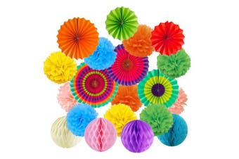 Cocodeko Hanging Paper Fans Tissue Paper Pom Poms Flower and Honeycomb Balls for Birthday Party Wedding Festival Christmas Decorations - Colourful