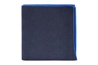 (Large, Black/Blue Trim) - AQUIS - Adventure Microfiber Sports Towel, Quick-Drying Comfort Great for Gym, Travel or Camping
