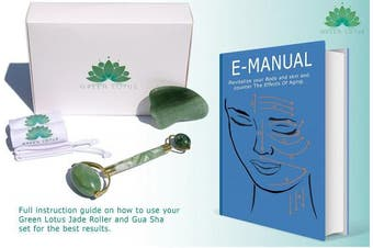 Premium Jade Roller & Gua Sha Pro Set | 100% Real Jade stone | Anti Ageing Skin Care Tools Therapy | Skin Massager for face | Depuffing Eyes Bag Chi Roller Treatment | Facial Beauty tool by Green Lotus