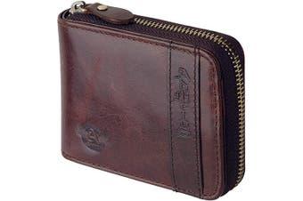 (Brown) - Admetus Men's Genuine Leather Bifold Zip-around Wallet with Elegant Gift