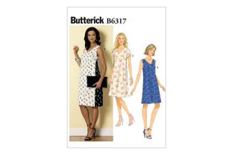 Butterick Patterns B6317 Misses' Pullover V-Neck Dresses, Size E5 (14-16-18-20-22)