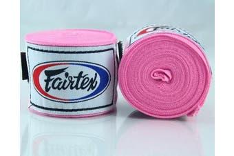 (300cm , Pink) - Fairtex Elastic Cotton Handwraps HW2-120 and 460cm - Full Length Hand Wraps. Many Colours