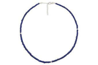(Lapis Lazuli) - BellaMira Sterling Silver Faceted Rondelle Beads Semi-Precious Gemstone Necklace Artisan Crafted Handmade In India Fine Jewellery In Retail Gift Box