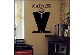 (420mm(H) x 280mm(W) A3, Black) - Bespoke Graphics LARGE MADNESS M TRILBY WALL STICKER NEW ART VINYL MATT TRANSFER, 420mm(H) x 280mm(W) A3, Black, As Pictured