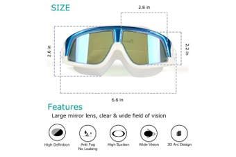 (Blue) - Premium Polarised Big Large Frame Swim Goggles, Swimming Goggles Anti Fog No Leaking with UV Protection and Clear Lens Wide-Vision for Men Women Adult Youth with Free Case,Nose Clip and Ear Plugs