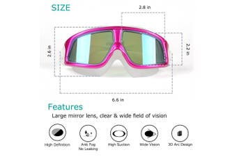 (pink) - Premium Polarised Big Large Frame Swim Goggles, Swimming Goggles Anti Fog No Leaking UV Protection Clear Lens Wide-Vision Men Women Adult Youth Free Case,Nose Clip Ear Plugs