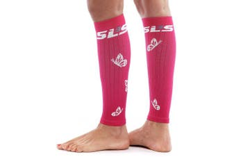 (Small/Medium, Hibiscus/White) - SLS3 Women's Butterfly Calf Compression Sleeves, Calf Guard