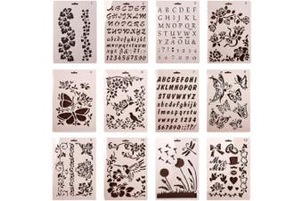 (Pattern 1-12) - Da Jia Inc 12pcs Different Plastic Stencils Letter Number Graphics Templates for Scrapbooking Drawing Card and Craft Projects (Pattern 1-12)