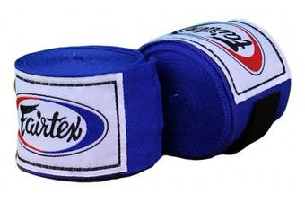 (300cm , Blue) - Fairtex Elastic Cotton Handwraps HW2-120 and 460cm - Full Length Hand Wraps. Many Colours