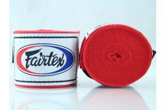 (300cm , Red) - Fairtex Elastic Cotton Handwraps HW2-120 and 460cm - Full Length Hand Wraps. Many Colours