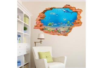 (Reference, Fish Shark Break Through Wall) - BIBITIME Tropical Fish Shark Break Through Wall Stickers Home Art 3D Underwater World Wall Decal Vinyl Decor for Nursery Bedroom 90cm x 60cm