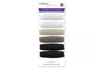 (Black & White Mix) - Mulitpurpose Coloured Craft String 9m/Pkg
