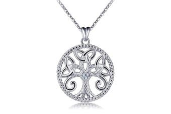 (Tree of Life) - Silver Tree of Life Necklace for Women, 925 Sterling Silver Celtic Knot Life Tree Pendant AEONSLOVE Jewellery Best Valentine Gift for Wife Girlfriend, 46cm Chain