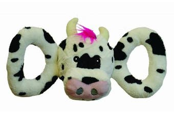 (Medium) - Jolly Pets Tug-a-Mal Cow | Squeaky Tug Toy for Dogs