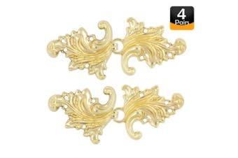 (Gold) - Bezelry 4 Pairs Asymmetric Acanthus Leaf Cape or Cloak Clasp Fasteners. 66mm x 28mm Fastened. Sew On Hooks and Eyes Cardigan Clip (Gold)
