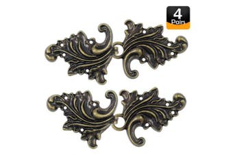 (Antique Brass) - Bezelry 4 Pairs Asymmetric Acanthus Leaf Cape or Cloak Clasp Fasteners. 66mm x 28mm Fastened. Sew On Hooks and Eyes Cardigan Clip (Antique Brass)