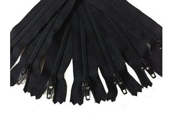 (10) - Black YKK zippers 25cm for skirts dresses pouches bags pack of 10 no.3 zippers