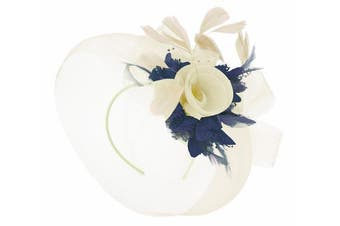(Cream Ivory and Navy) - Caprilite Cream Ivory Feather Flower Fascinator Hat Veil Net Headband Clip Ascot Derby Races Wedding