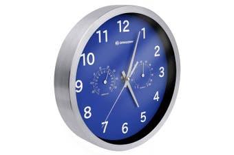(Blue) - Bresser Wall Clock, Stainless-Steel, Blue, 25 x 4.6 x 25 cm