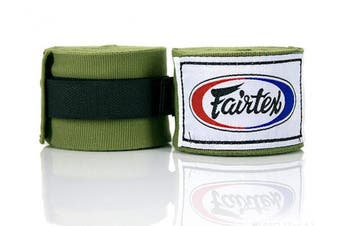 (300cm , Olive Green) - Fairtex Elastic Cotton Handwraps HW2-120 and 460cm - Full Length Hand Wraps. Many Colours