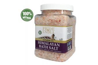 (Himalayan Pink Bath Salt w/ Lavender Oil, 1.1kg Jar) - Pride Of India - Himalayan Pink Bathing Salt - Enriched w/ Lavendar Oil and 84+ Natural Minerals, 1.1kg (1180ml) Jar