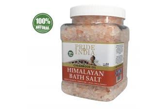 (Himalayan Pink Bath Salt w/ Cedarwood Oil, 1.1kg Jar) - Pride Of India - Himalayan Pink Bathing Salt - Enriched w/ Cedarwood Oil and 84+ Natural Minerals, 1.1kg (1180ml) Jar
