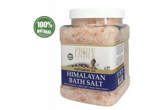 (Himalayan Pink Bath Salt w/ Peppermint Oil, 1.1kg Jar) - Pride Of India - Himalayan Pink Bathing Salt - Enriched w/ Peppermint Oil and 84+ Natural Minerals, 1.1kg (1180ml) Jar