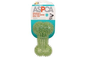 (Green) - ASPCA Squeaky Glitter Bone Dog Toy