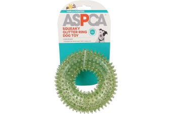 (Green) - ASPCA Squeaky Glitter Ring Dog Toy