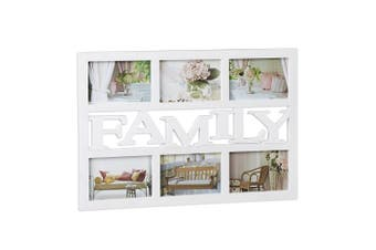 (White) - Relaxdays Picture Frame Family, Collage Frame for 6 Photos, Custom Multiple Picture Gallery Frame, 33 x 48 cm, White