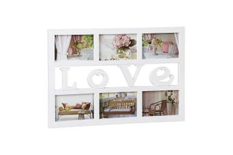 (White) - Relaxdays Picture Frame Love, Collage for Up To 6 Photos, Gallery Hanging Frame, HxWxD: 33x48x1.5 cm, White
