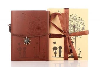 (Brown) - Memory Scrapbook,ZEEYUAN Love Scrap book Dandelion Soft Leather Photo Album Family Self Adhesive Book Special Christmas Valentines Birthday Gifts Unique Present for Women,Come with Gift Box (Brown)