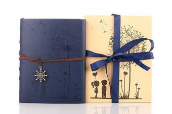(Dark Blue) - Memory Scrapbook,ZEEYUAN Love Scrap book Dandelion Soft Leather Photo Album Family Self Adhesive Book Special Christmas Valentines Birthday Gifts Unique Present for Women,Come with Gift Box (Dark blue)