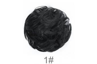 (1# Jet Black) - BARSDAR Wavy Curly Messy Bun Updo Hairpiece Scrunchy Scrunchie Ribbon Ponytail Hair Extensions Hair Piece Donut Synthetic Hair Chignons Wigs for Women --Jet Black
