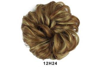 (12H24# Light Golden Brown & Light Blonde Ombre) - BARSDAR Messy Hair Bun Extensions Hairpiece for Women Updo Scrunchie Hair Piece (12H24# Light Golden Brown & Light Blonde Ombre)