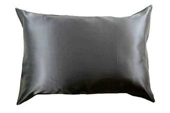 (Standard, Charcoal Gray) - 100% Silk Pillowcase for Hair Zippered Luxury 25 Momme Mulberry Silk Charmeuse Silk on Both Sides of Cover -Gift Wrapped- (Standard, Charcoal Grey)