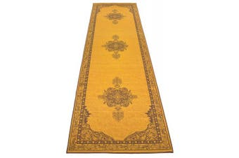 (0.6m x 3m, Yellow) - Persian Medallion Runner Rug Slip Skid Resistant Rubber Backing Anti Bacterial Area Rug (Yellow Brown, 0.6m x 3m)
