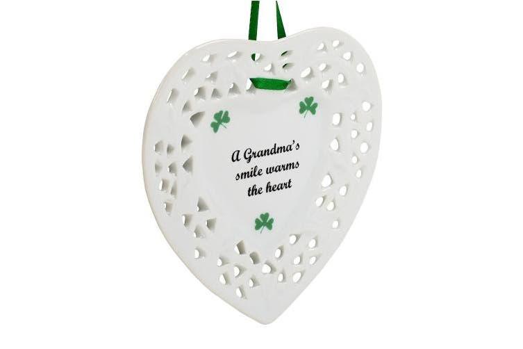 Grandma's Smile Shamrock Heart Shaped 10cm Porcelain Christmas Ornament