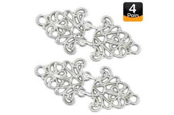 (Shiny Silver) - Bezelry 4 Pairs Filigree Trivet Cape or Cloak Clasp Fasteners. 64mm x 29mm Fastened. Sew On Hooks and Eyes Cardigan Clip (Silver)