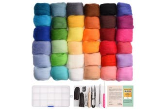 Wool Roving for Needle Felting - 36 Colours Set - Starter Tool Kit and Foam Mat included - plus 15 Beginner Projects eBook with Instructions - Gift Idea - by Crafts Parade