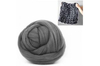 (250g/0.55 lbs, Dark Grey) - Giant Wool Yarn Chunky Arm Knitting Super Soft Wool Yarn Bulky Wool Roving (250g/0.55 lbs, Dark Grey)