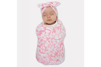(Pink) - SwaddleDesigns Marquisette Swaddling Blanket and Baby Headband Gift Set, Premium Cotton Muslin, Pink Lush